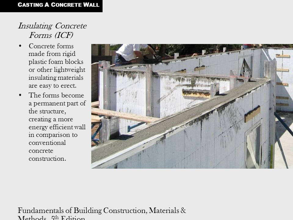 Fundamentals of Building Construction, Materials & Methods, 5 th Edition Copyright © 2009 J. Iano. All rights reserved. Insulating Concrete Forms (ICF