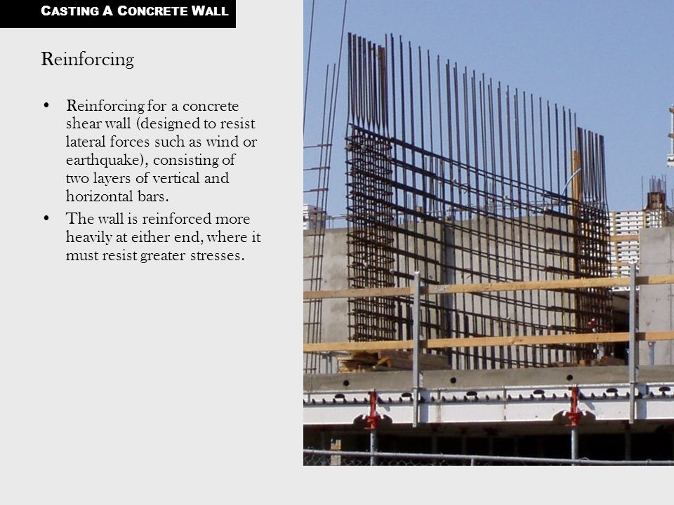 Reinforcing Reinforcing for a concrete shear wall (designed to resist lateral forces such as wind or earthquake), consisting of two layers of vertical