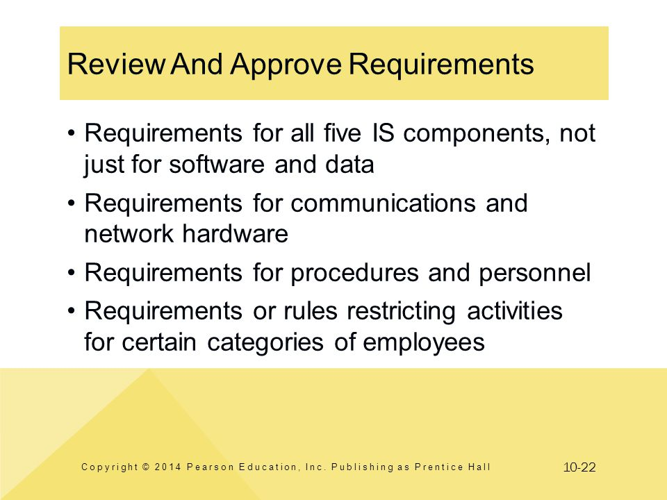 10-22 Review And Approve Requirements Copyright © 2014 Pearson Education, Inc. Publishing as Prentice Hall Requirements for all five IS components, no