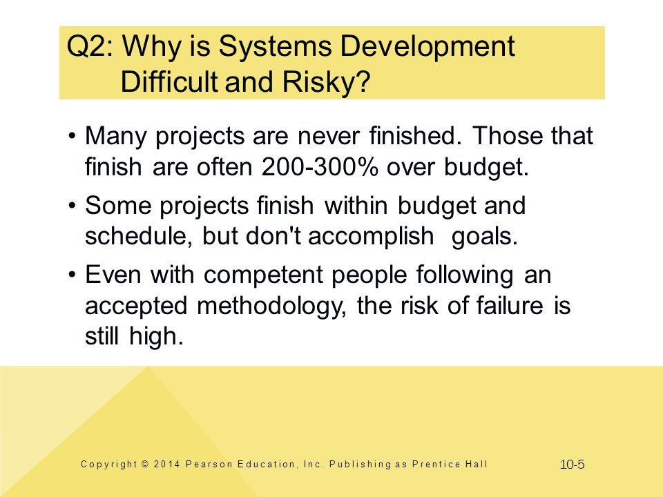 10-5 Q2: Why is Systems Development Difficult and Risky? Copyright © 2014 Pearson Education, Inc. Publishing as Prentice Hall Many projects are never