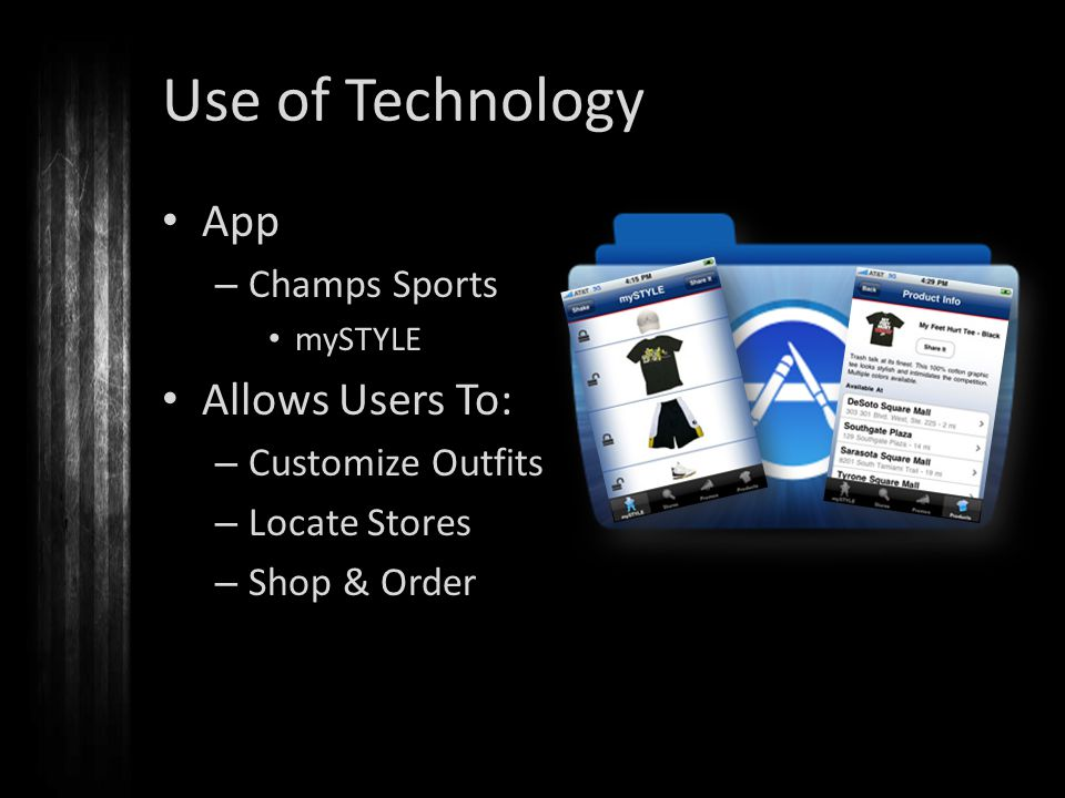Use of Technology App – Champs Sports mySTYLE Allows Users To: – Customize Outfits – Locate Stores – Shop & Order