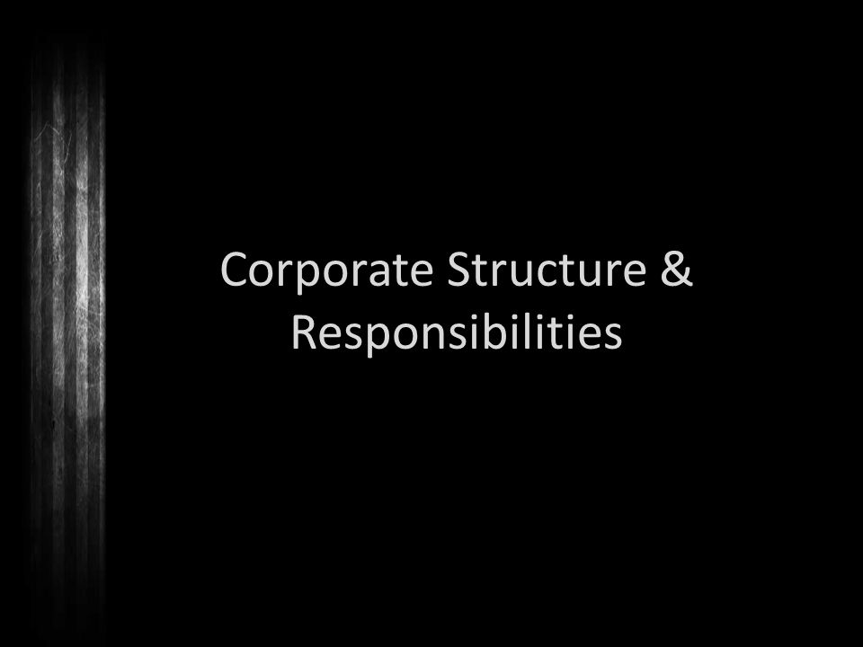 Corporate Structure & Responsibilities