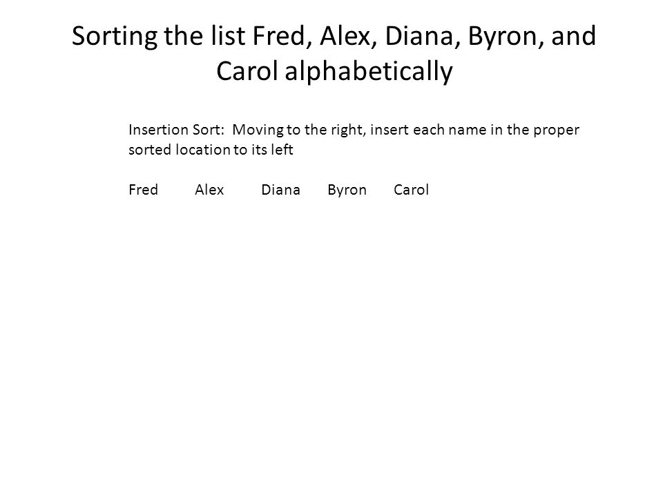 Sorting the list Fred, Alex, Diana, Byron, and Carol alphabetically Insertion Sort: Moving to the right, insert each name in the proper sorted location to its left FredAlexDianaByronCarol