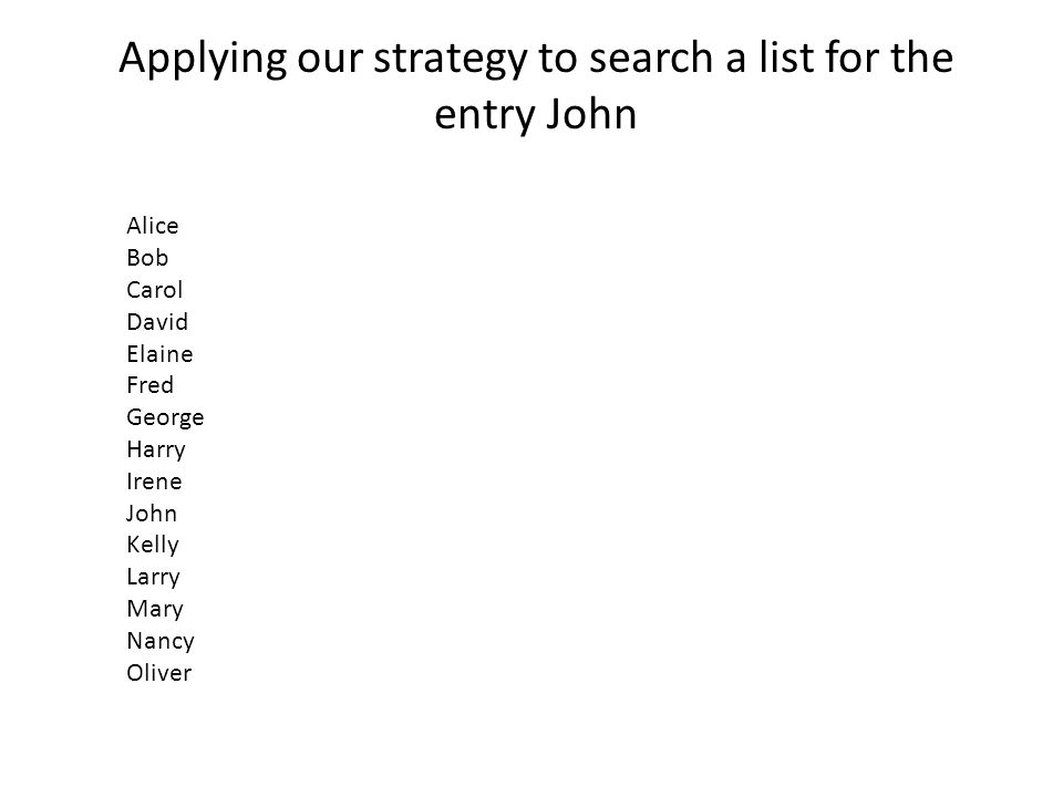Applying our strategy to search a list for the entry John Alice Bob Carol David Elaine Fred George Harry Irene John Kelly Larry Mary Nancy Oliver