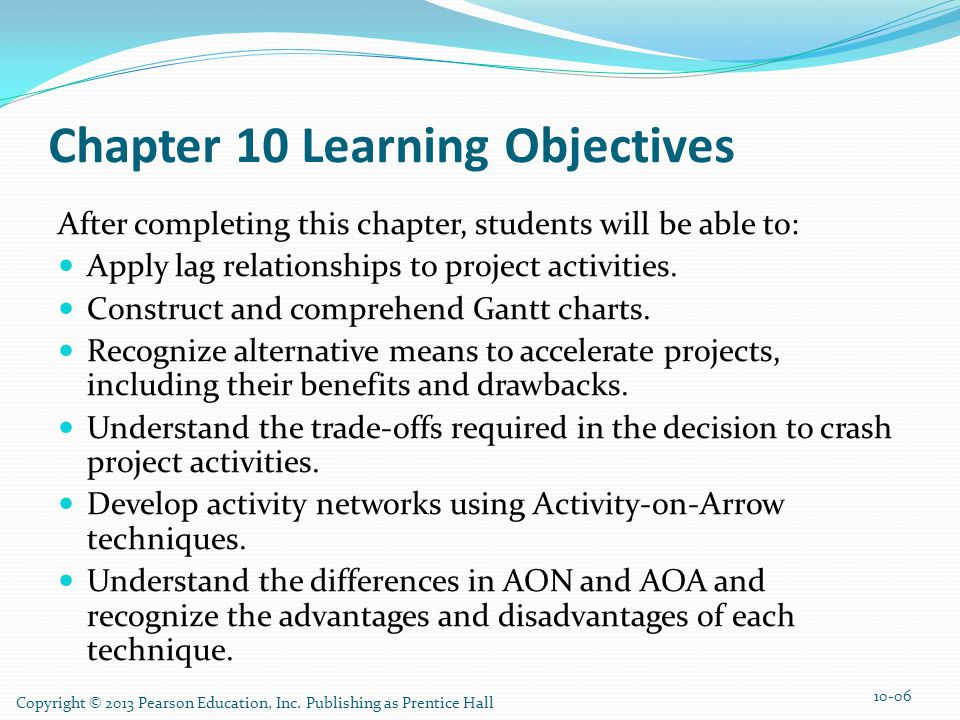 Copyright © 2013 Pearson Education, Inc. Publishing as Prentice Hall Chapter 10 Learning Objectives After completing this chapter, students will be ab