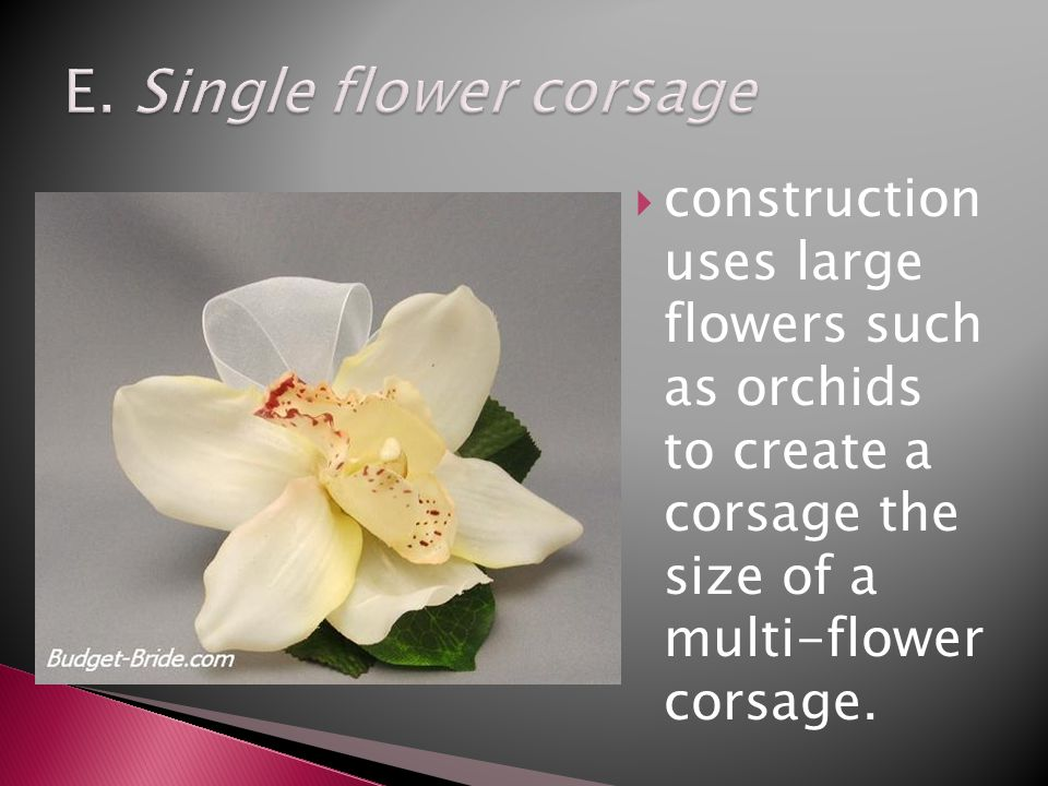 construction uses large flowers such as orchids to create a corsage the size of a multi-flower corsage.