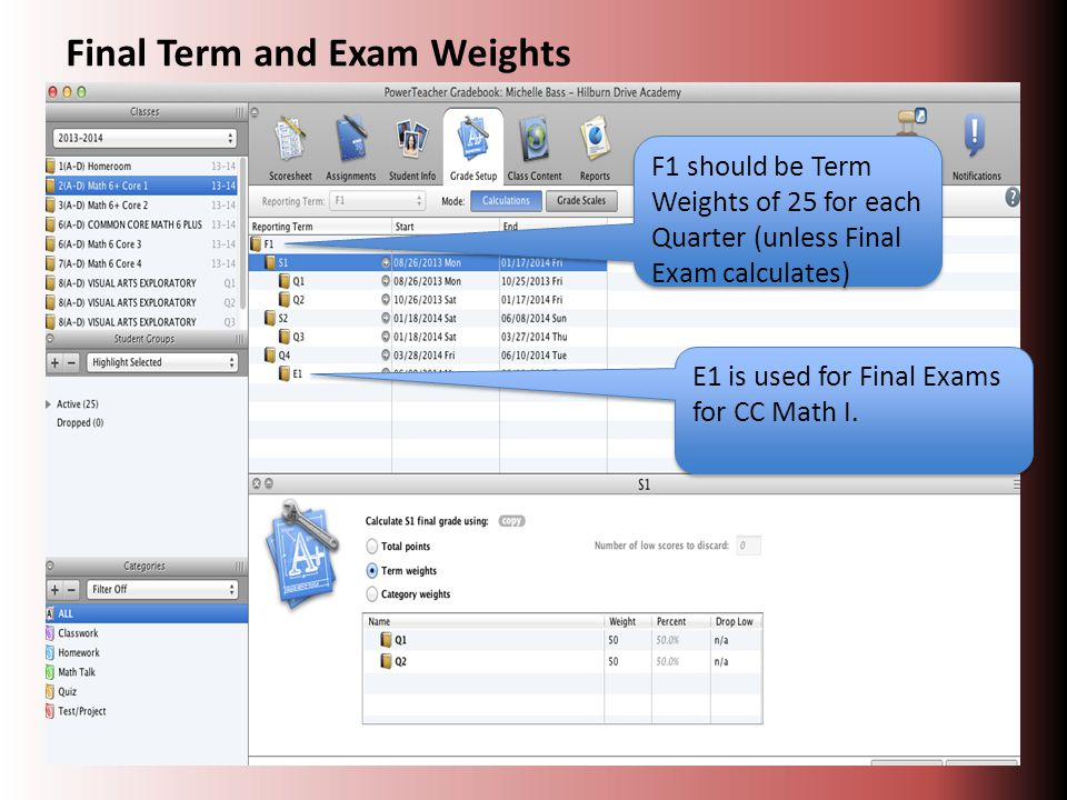 E1 is used for Final Exams for CC Math I.