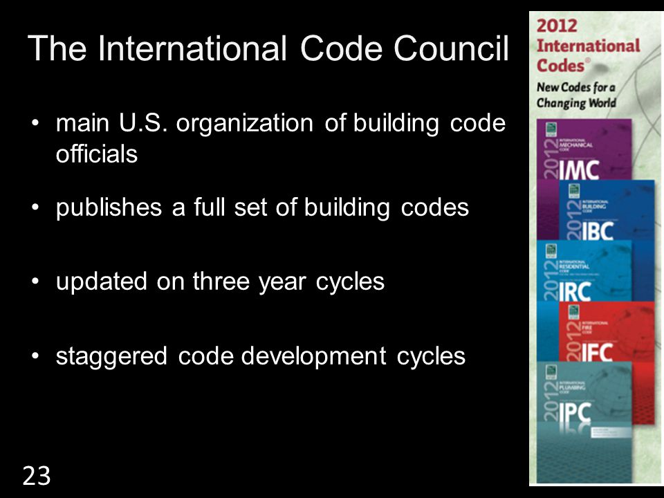 The International Code Council main U.S. organization of building code officials publishes a full set of building codes updated on three year cycles s