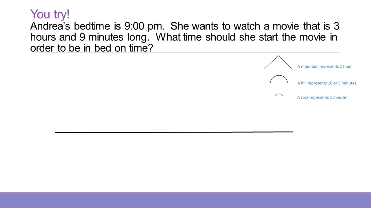 You try.Andreas bedtime is 9:00 pm. She wants to watch a movie that is 3 hours and 9 minutes long.