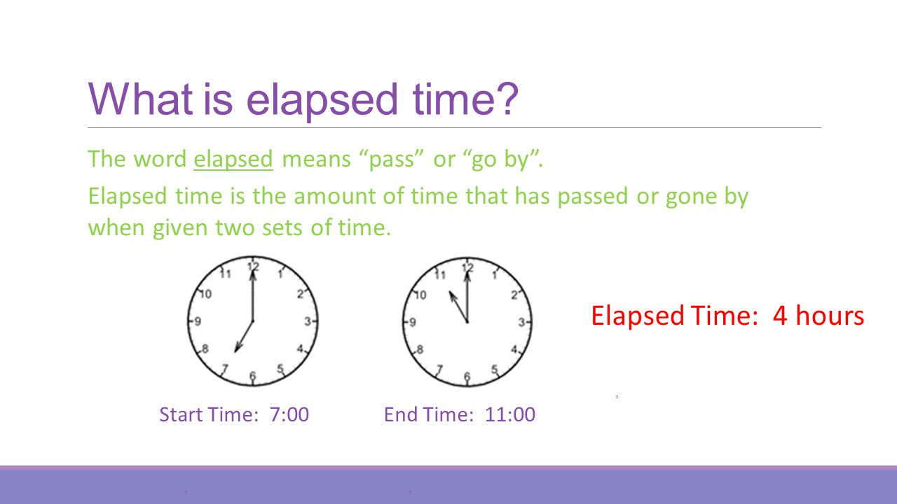 What is elapsed time.Start Time: 7:00 S The word elapsed means pass or go by.