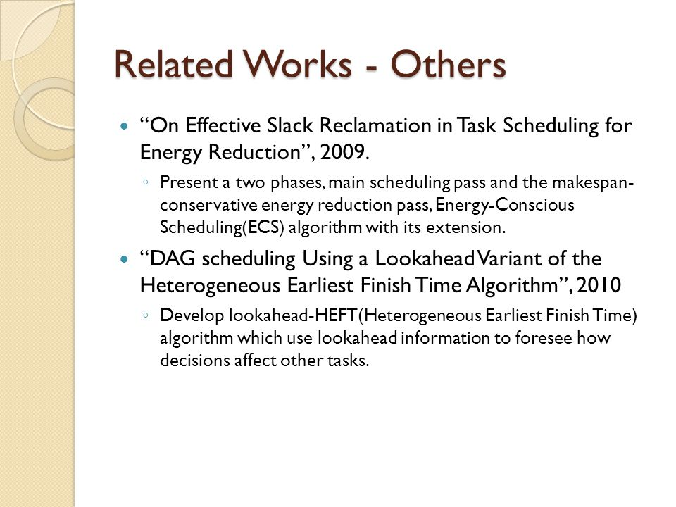 Related Works - Others On Effective Slack Reclamation in Task Scheduling for Energy Reduction, 2009.