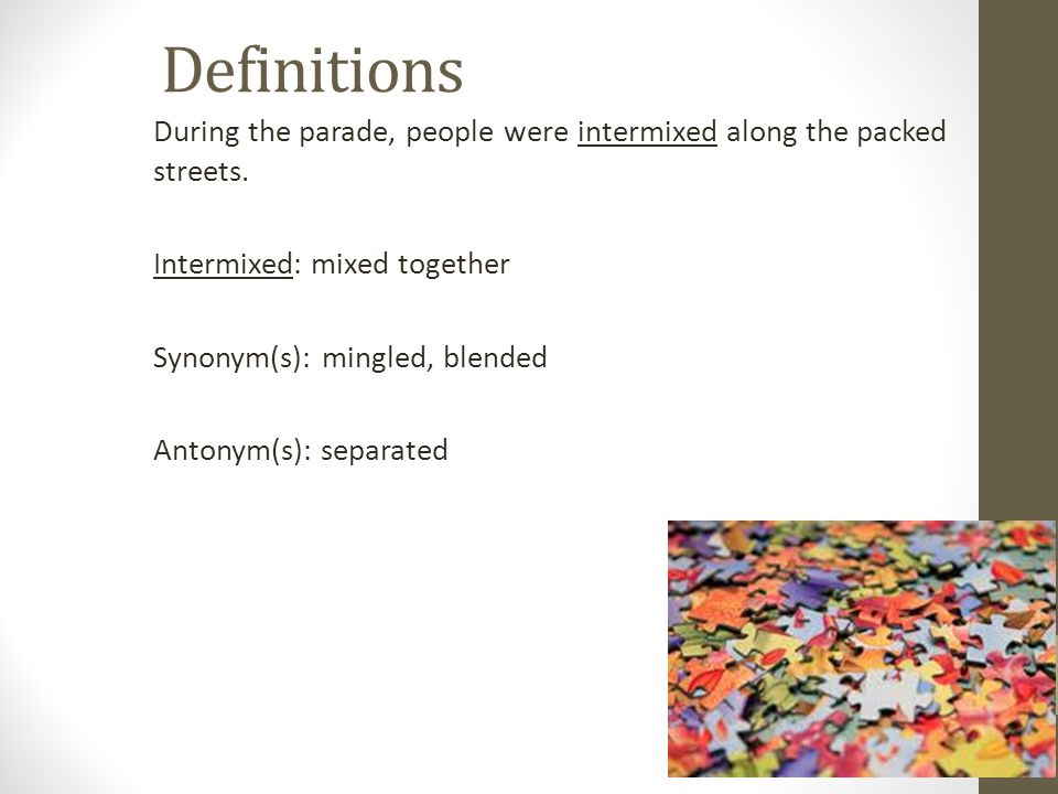 Definitions During the parade, people were intermixed along the packed streets. Intermixed: mixed together Synonym(s): mingled, blended Antonym(s): se