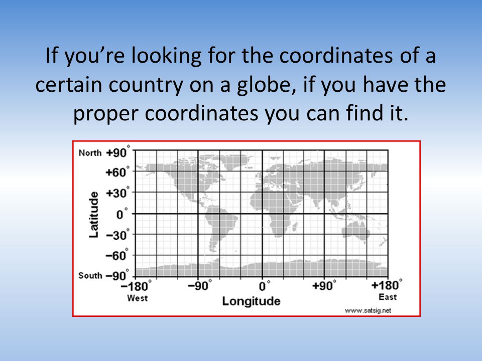 If youre looking for the coordinates of a certain country on a globe, if you have the proper coordinates you can find it.