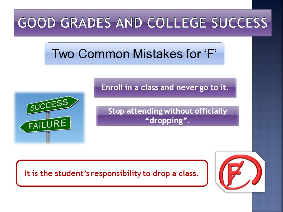 Two Common Mistakes for F Enroll in a class and never go to it. Stop attending without officially dropping. It is the students responsibility to drop
