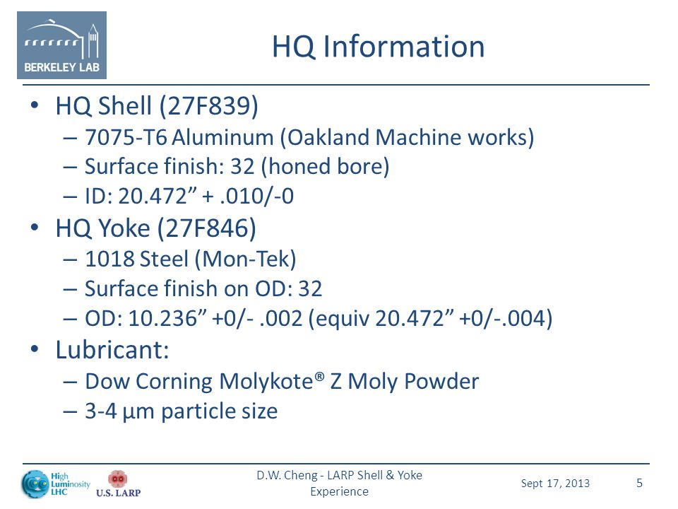 Items to Note All shell ID surfaces were honed to at least a 32 finish Yoke OD surfaces called out to 32 finish as well – LR (dipole configuration) yoke diameter was machined.040 undersized, max – LQ & HQ yoke diameters were machined to shell ID, max All assemblies used Dow Corning Molykote Z Powder Sept 17, 2013 D.W.