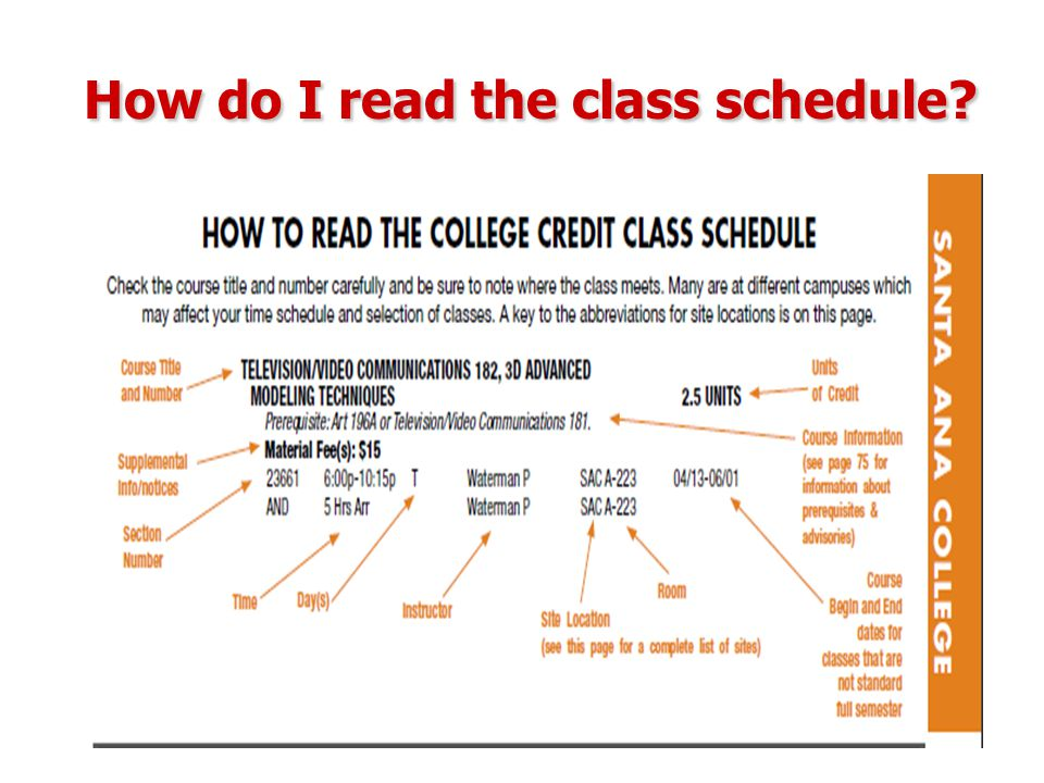 How do I read the class schedule?