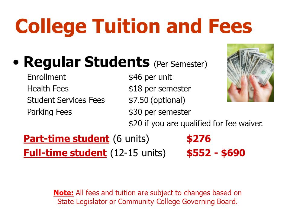 College Tuition and Fees Regular Students (Per Semester) Enrollment$46 per unit Health Fees$18 per semester Student Services Fees$7.50 (optional) Park