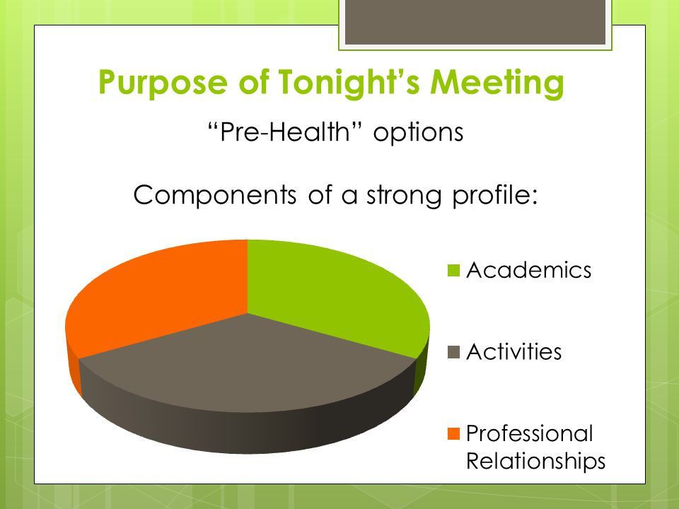 Purpose of Tonights Meeting Pre-Health options Components of a strong profile: