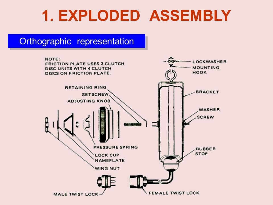 1. EXPLODED ASSEMBLY Orthographic representation