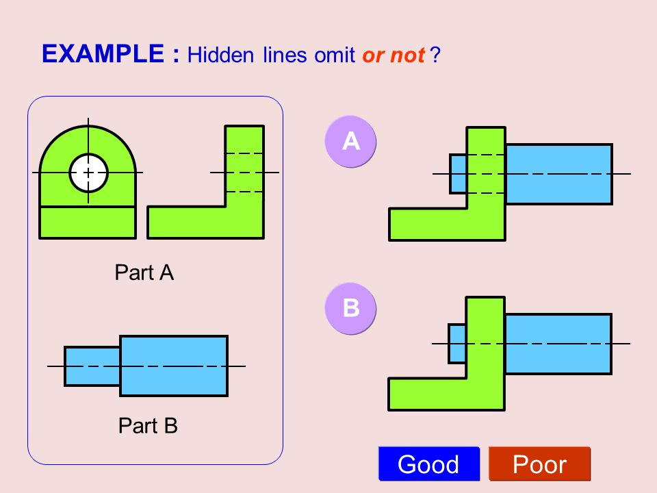 EXAMPLE : Hidden lines omit or not ? Part A Part B AB GoodPoor