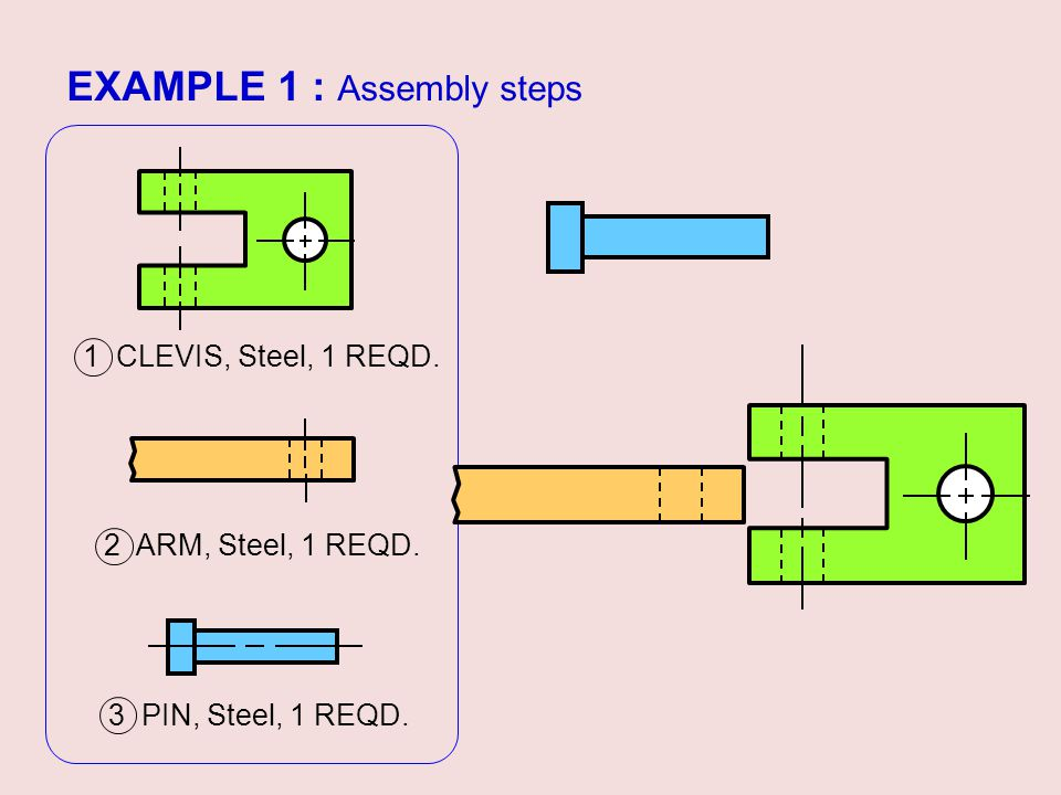 EXAMPLE 1 : Assembly steps 3 PIN, Steel, 1 REQD. 2 ARM, Steel, 1 REQD. 1 CLEVIS, Steel, 1 REQD.