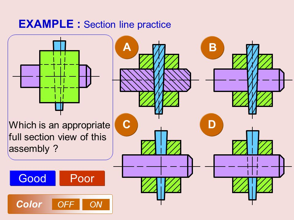 EXAMPLE : Section line practice AB GoodPoor Which is an appropriate full section view of this assembly ? CD OFF ON Color