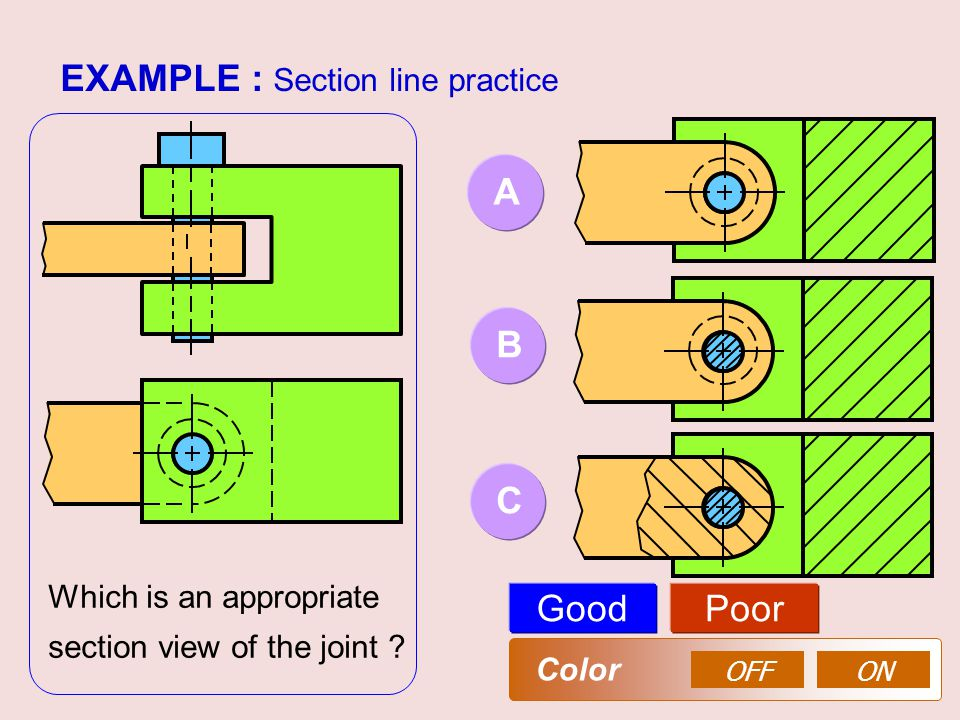 EXAMPLE : Section line practice AB GoodPoor OFFON Color Which is an appropriate section view of the joint ? C