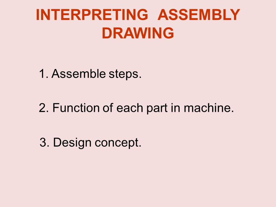 1. Assemble steps. 2. Function of each part in machine. 3. Design concept. INTERPRETING ASSEMBLY DRAWING