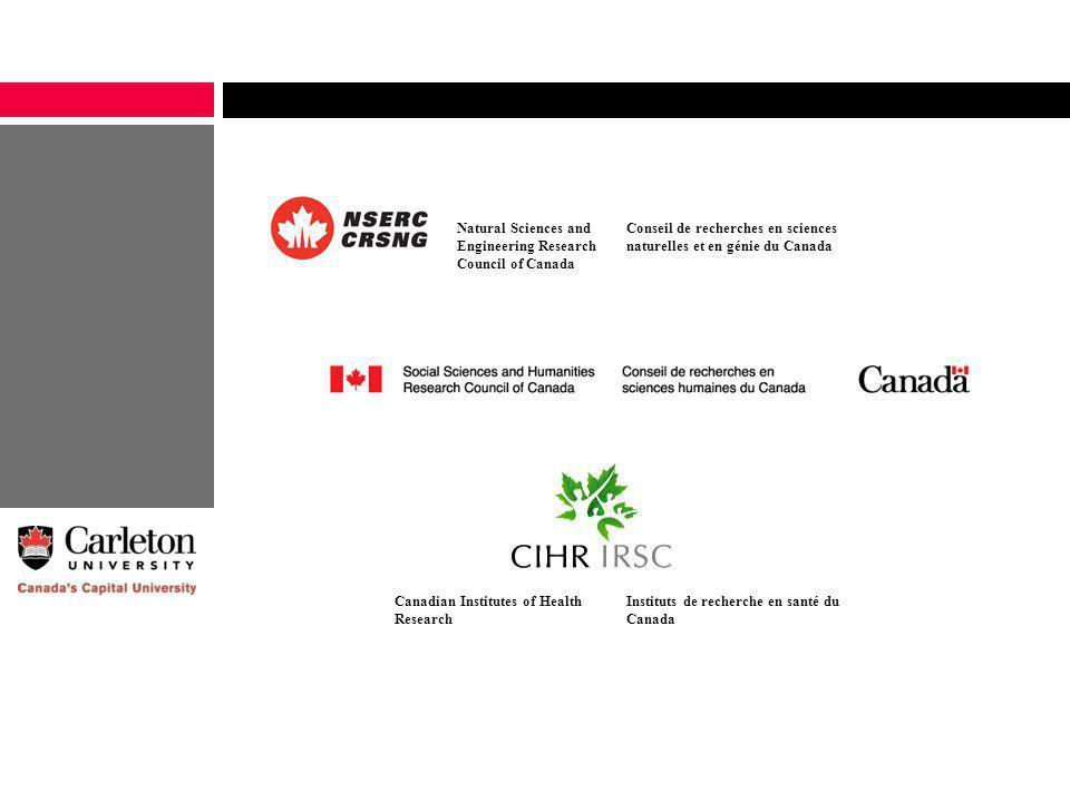 Natural Sciences and Engineering Research Council of Canada Conseil de recherches en sciences naturelles et en génie du Canada Canadian Institutes of Health Research Instituts de recherche en santé du Canada