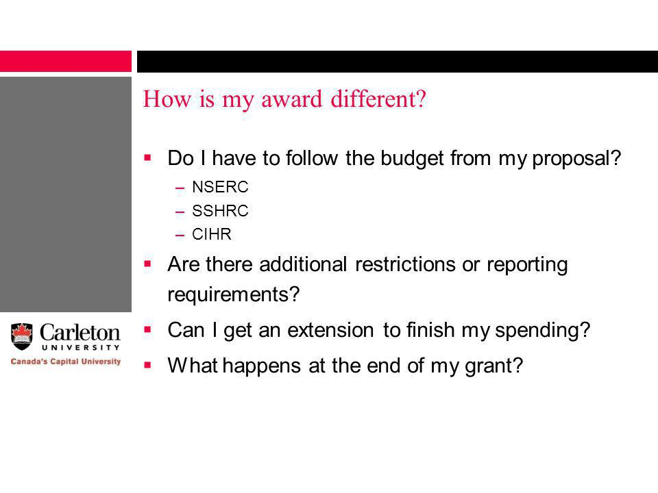 How is my award different. Do I have to follow the budget from my proposal.