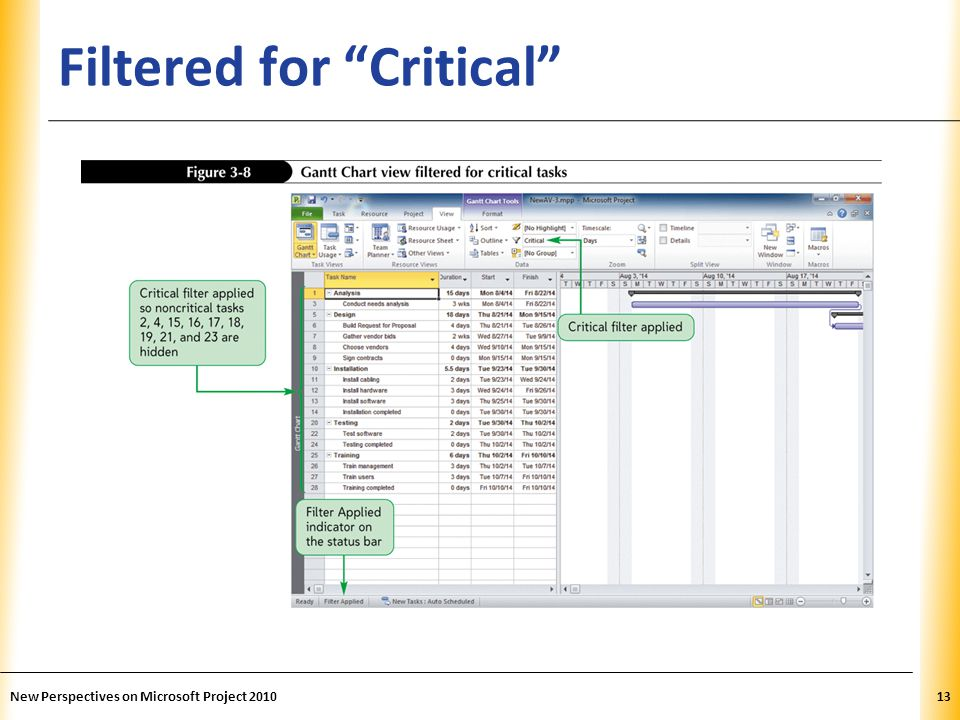 XP Filtered for Critical New Perspectives on Microsoft Project 201013