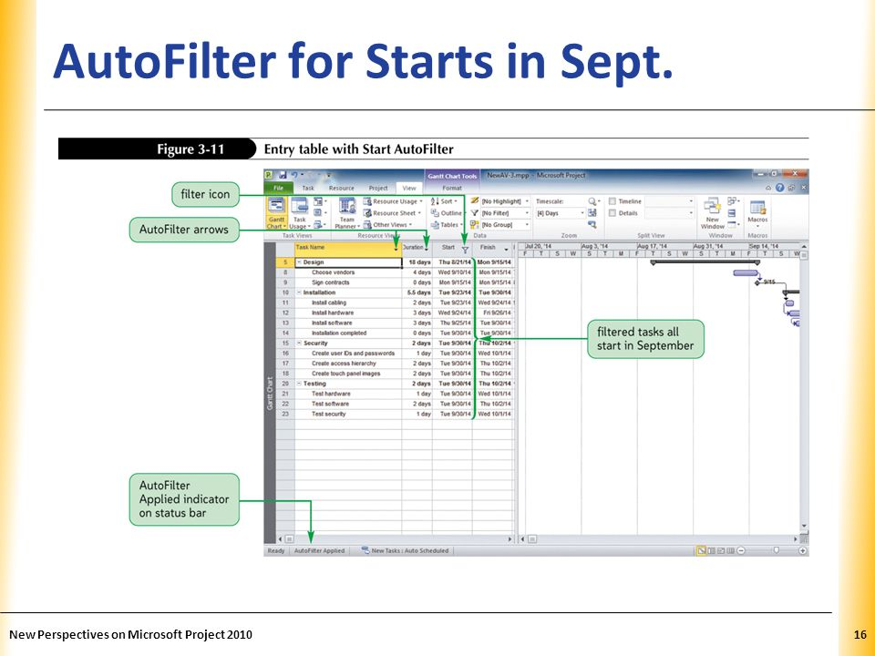 XP AutoFilter for Starts in Sept. New Perspectives on Microsoft Project 201016
