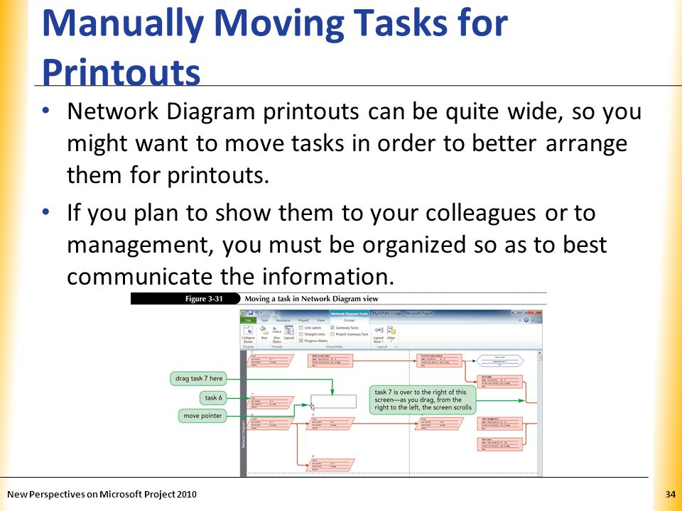 XP Manually Moving Tasks for Printouts Network Diagram printouts can be quite wide, so you might want to move tasks in order to better arrange them fo