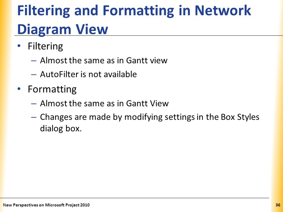 XP Filtering and Formatting in Network Diagram View Filtering – Almost the same as in Gantt view – AutoFilter is not available Formatting – Almost the