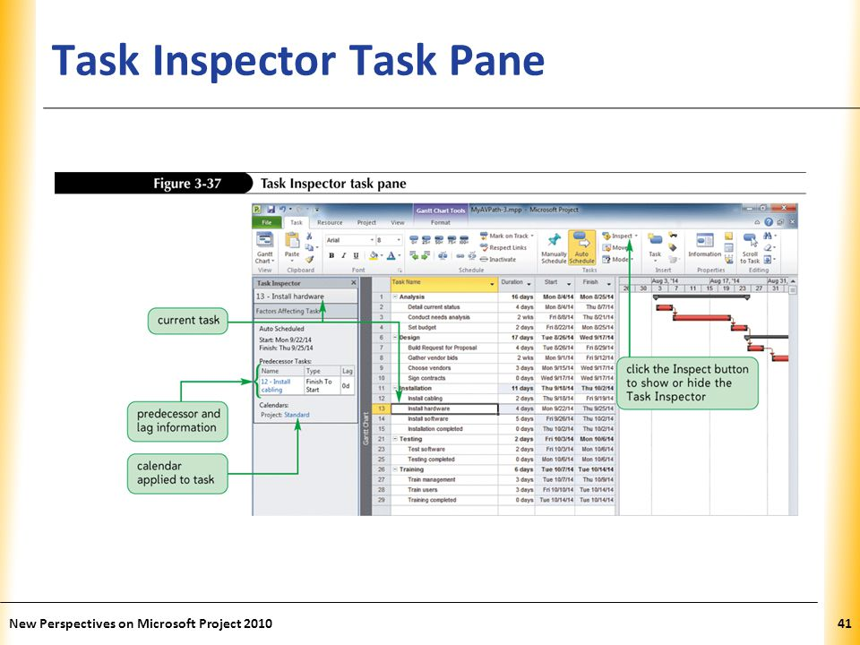 XP Task Inspector Task Pane New Perspectives on Microsoft Project 201041