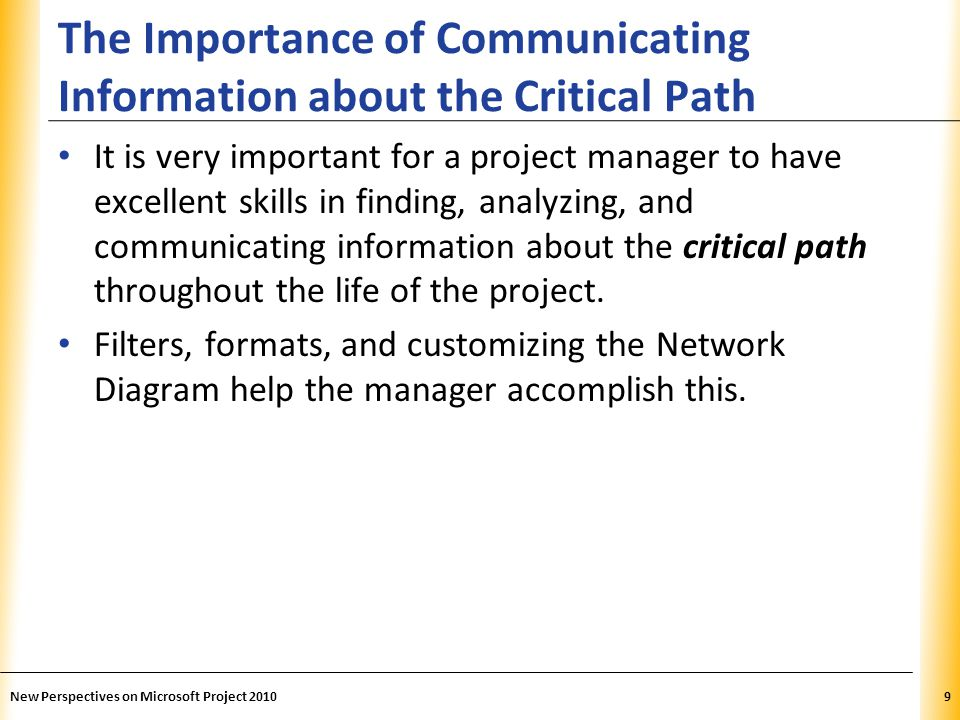 XP The Importance of Communicating Information about the Critical Path It is very important for a project manager to have excellent skills in finding,