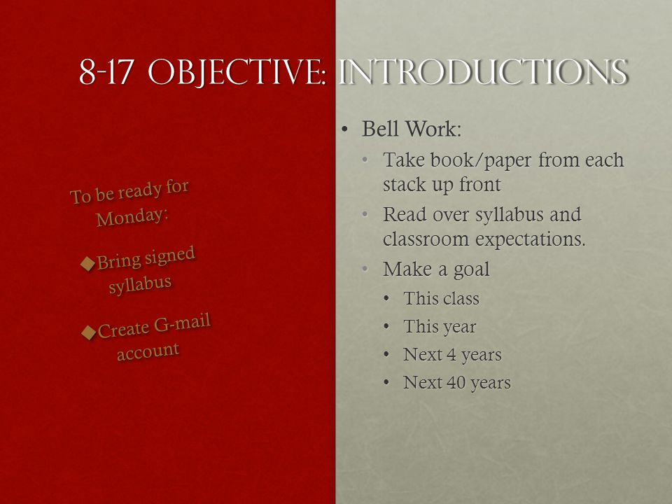 9-4 Objective: publish essay Bell WorkBell Work Finalize your essayFinalize your essay When finishedWhen finished Save AsWordSave AsWord (Last Name)Essay1(Last Name)Essay1 No spaces Submit to Turnitin.comSubmit to Turnitin.com Turn in drafts and rubric checklistTurn in drafts and rubric checklist To be ready for Wednesday: Relaxbe ready to read again.