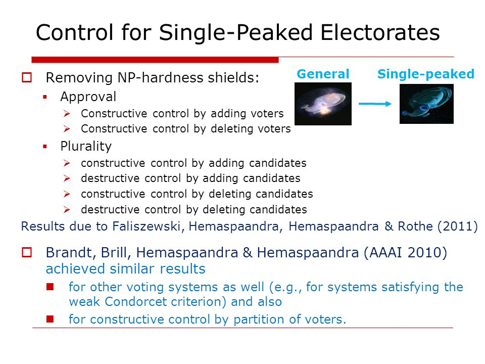 Removing NP-hardness shields: Approval Constructive control by adding voters Constructive control by deleting voters Plurality constructive control by adding candidates destructive control by adding candidates constructive control by deleting candidates destructive control by deleting candidates Results due to Faliszewski, Hemaspaandra, Hemaspaandra & Rothe (2011) Brandt, Brill, Hemaspaandra & Hemaspaandra (AAAI 2010) achieved similar results for other voting systems as well (e.g., for systems satisfying the weak Condorcet criterion) and also for constructive control by partition of voters.
