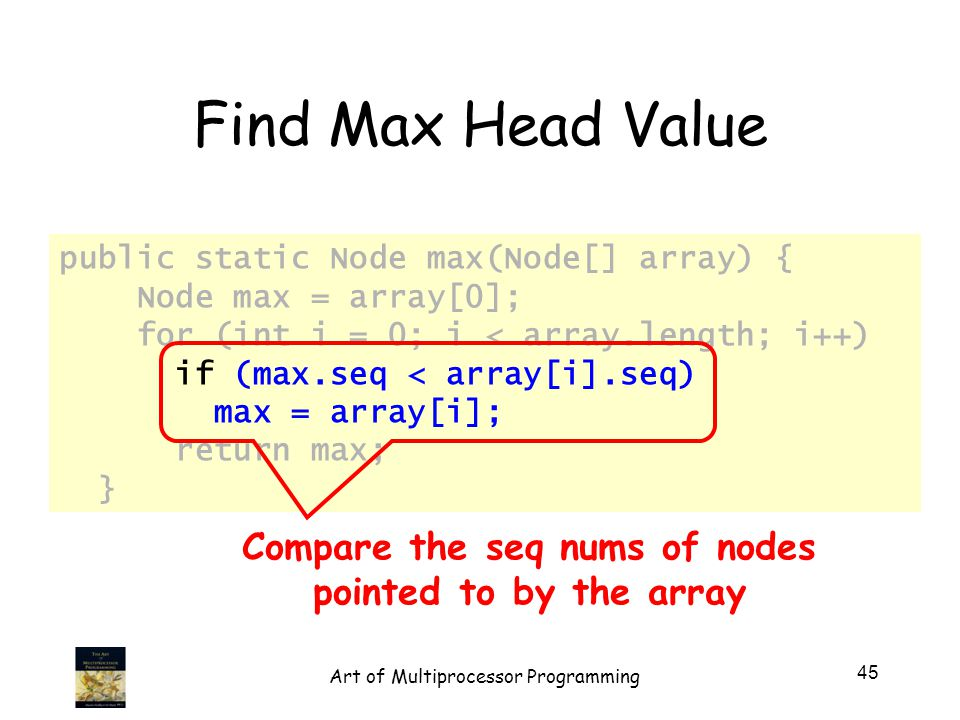 public static Node max(Node[] array) { Node max = array[0]; for (int i = 0; i < array.length; i++) if (max.seq < array[i].seq) max = array[i]; return max; } Find Max Head Value Compare the seq nums of nodes pointed to by the array 45 Art of Multiprocessor Programming
