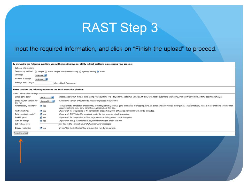 RAST Step 3 Input the required information, and click on Finish the upload to proceed.
