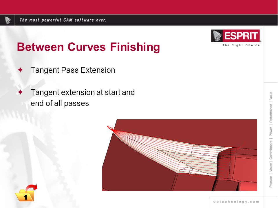 Between Curves Finishing Tangent Pass Extension Tangent extension at start and end of all passes