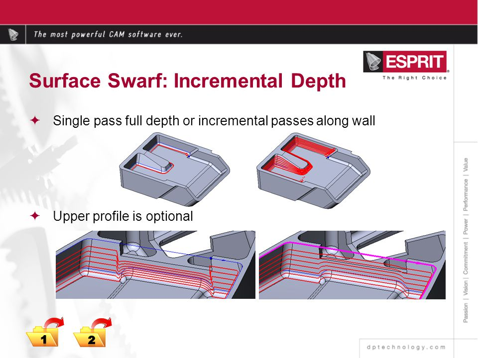 Surface Swarf: Incremental Depth Single pass full depth or incremental passes along wall Upper profile is optional