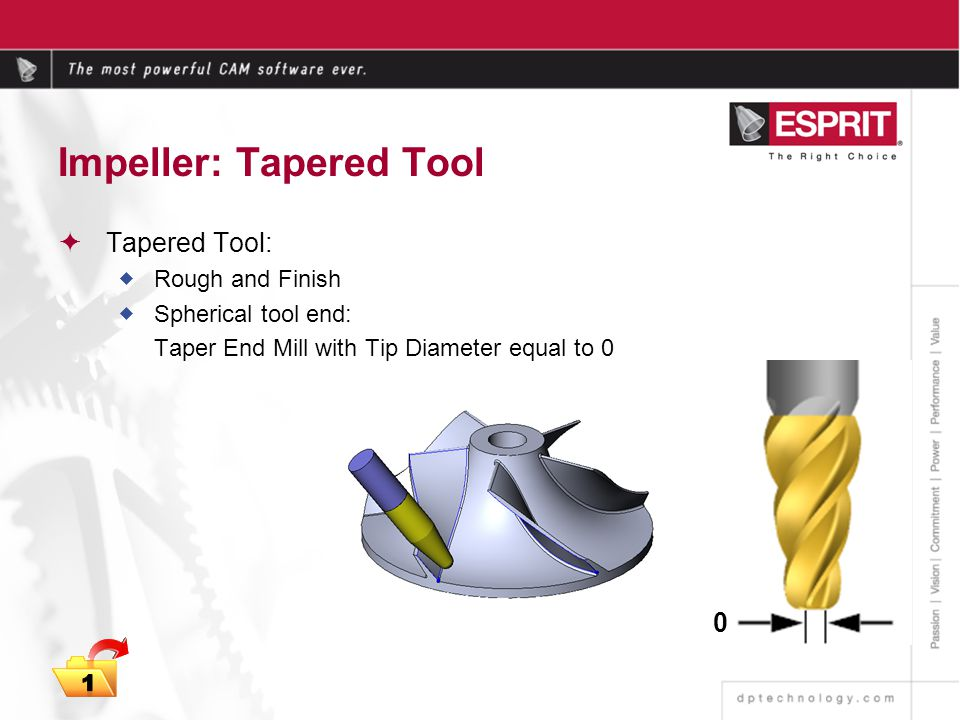 Impeller: Tapered Tool Tapered Tool: Rough and Finish Spherical tool end: Taper End Mill with Tip Diameter equal to 0 0