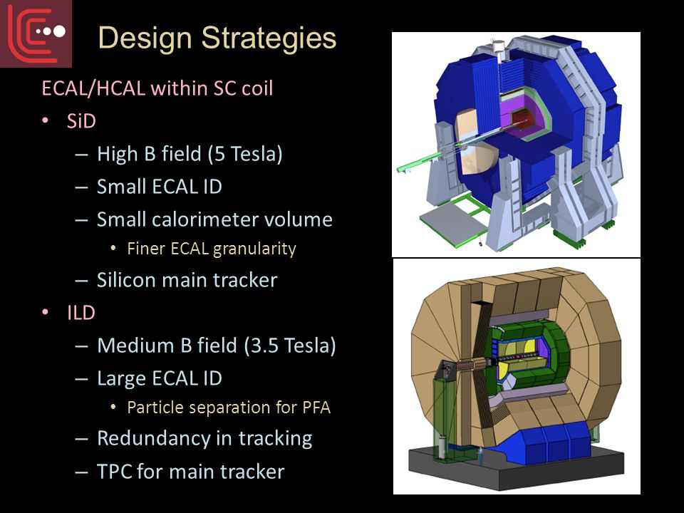 ECAL/HCAL within SC coil SiD – High B field (5 Tesla) – Small ECAL ID – Small calorimeter volume Finer ECAL granularity – Silicon main tracker ILD – Medium B field (3.5 Tesla) – Large ECAL ID Particle separation for PFA – Redundancy in tracking – TPC for main tracker Design Strategies