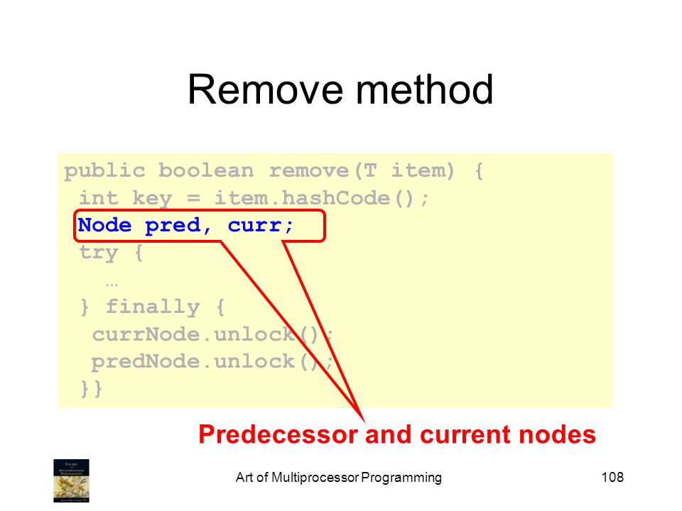 Art of Multiprocessor Programming108 Remove method public boolean remove(T item) { int key = item.hashCode(); Node pred, curr; try { … } finally { currNode.unlock(); predNode.unlock(); }} Predecessor and current nodes