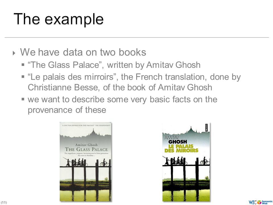 (11) We have data on two books The Glass Palace, written by Amitav Ghosh Le palais des mirroirs, the French translation, done by Christianne Besse, of