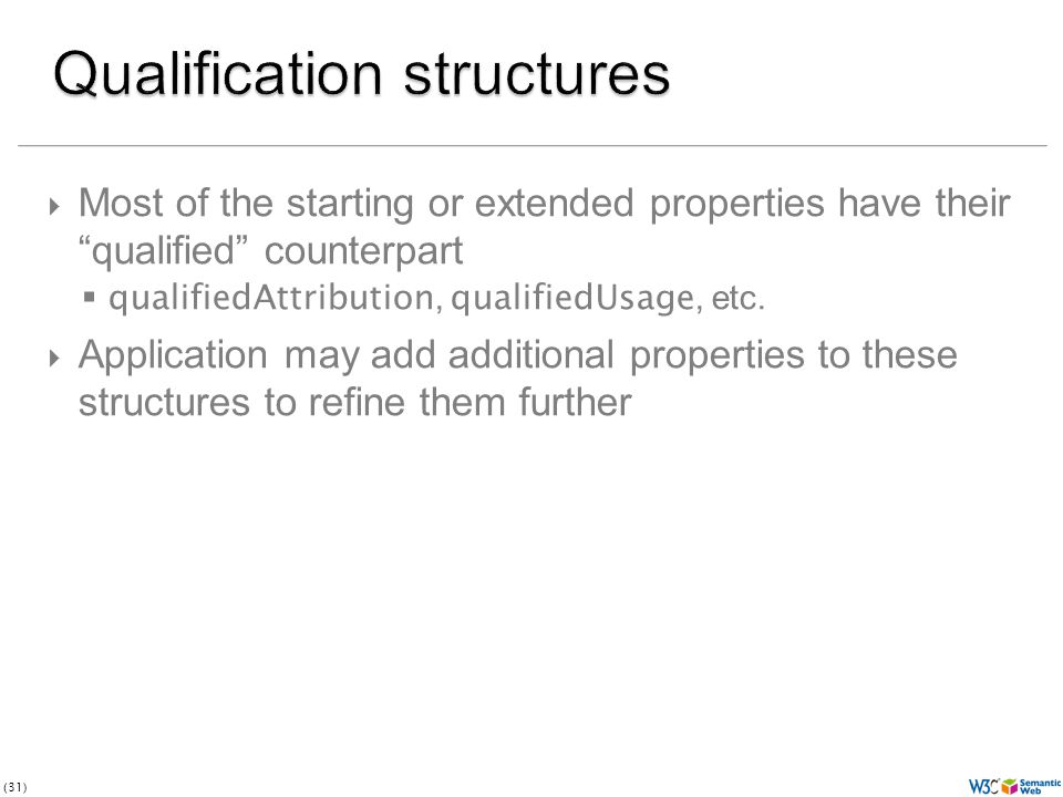(31) Most of the starting or extended properties have their qualified counterpart qualifiedAttribution, qualifiedUsage, etc.