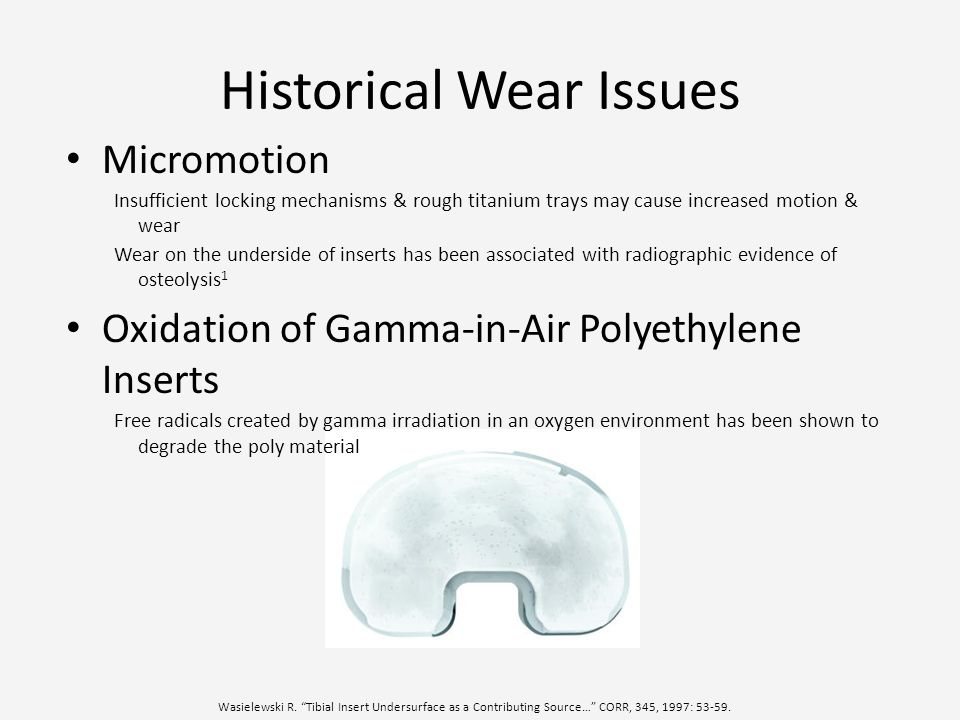 Historical Wear Issues Micromotion Insufficient locking mechanisms & rough titanium trays may cause increased motion & wear Wear on the underside of i