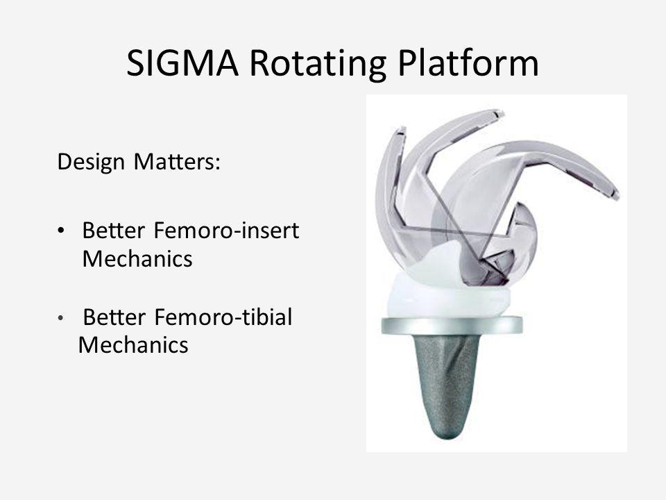 SIGMA Rotating Platform Design Matters: Better Femoro-insert Mechanics Better Femoro-tibial Mechanics