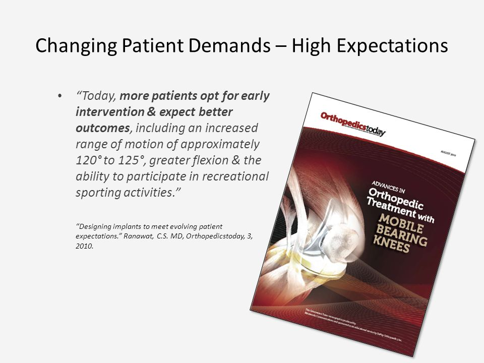 Changing Patient Demands – High Expectations Today, more patients opt for early intervention & expect better outcomes, including an increased range of